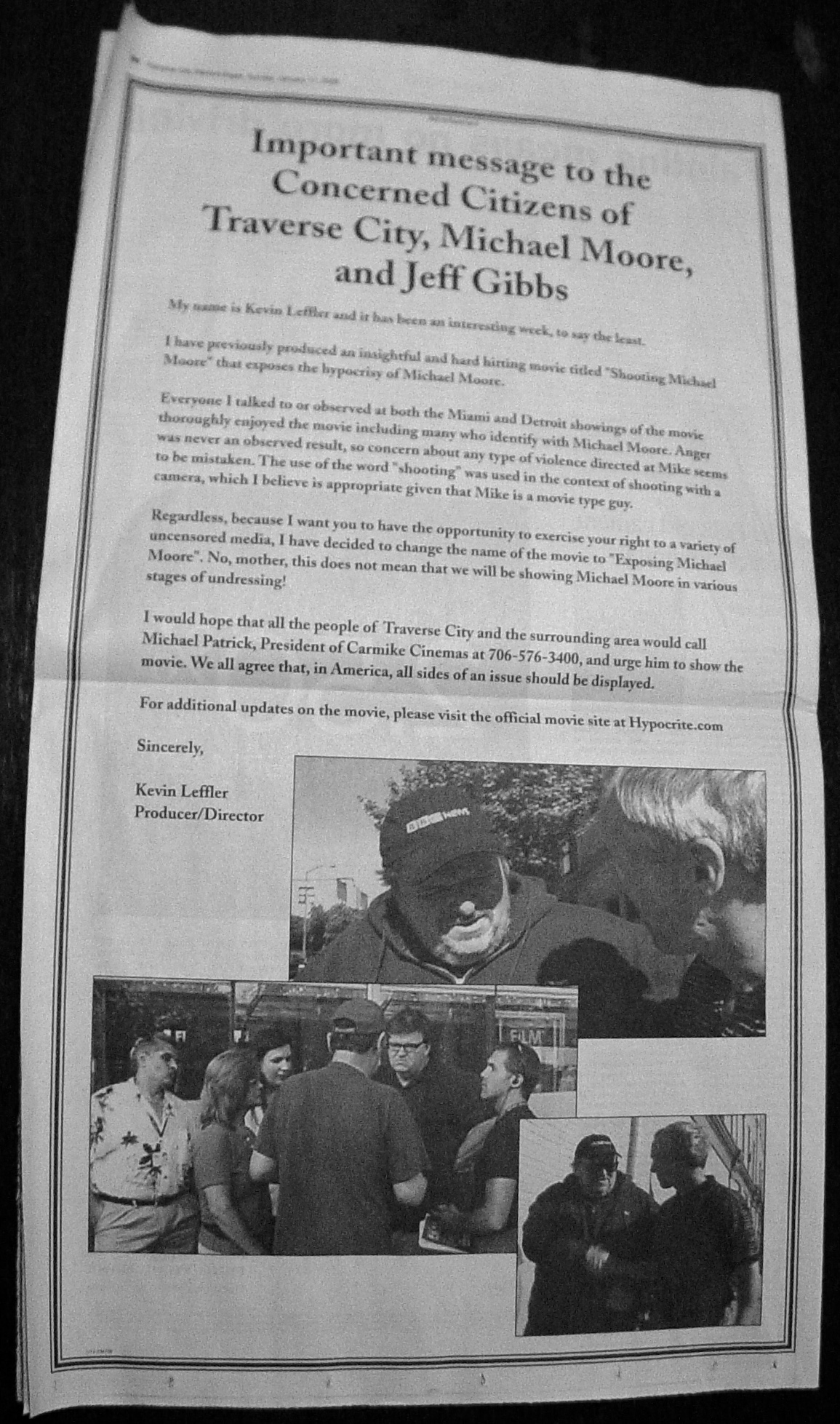 Full Page ad to get film Shown in Traverse City, MI